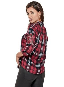 GUESS košile Emely Floral-Embroidered Plaid Shirt