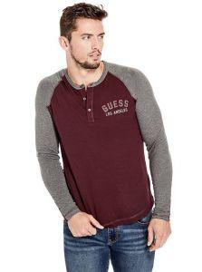 GUESS pánské tričko s dlouhým rukávem Gibbons Logo Henley
