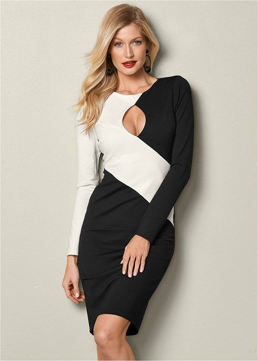 VENUS šaty COLOR BLOCK BODYCON DRESS