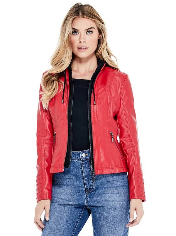 GUESS bunda Sheena Hooded Moto Jacket