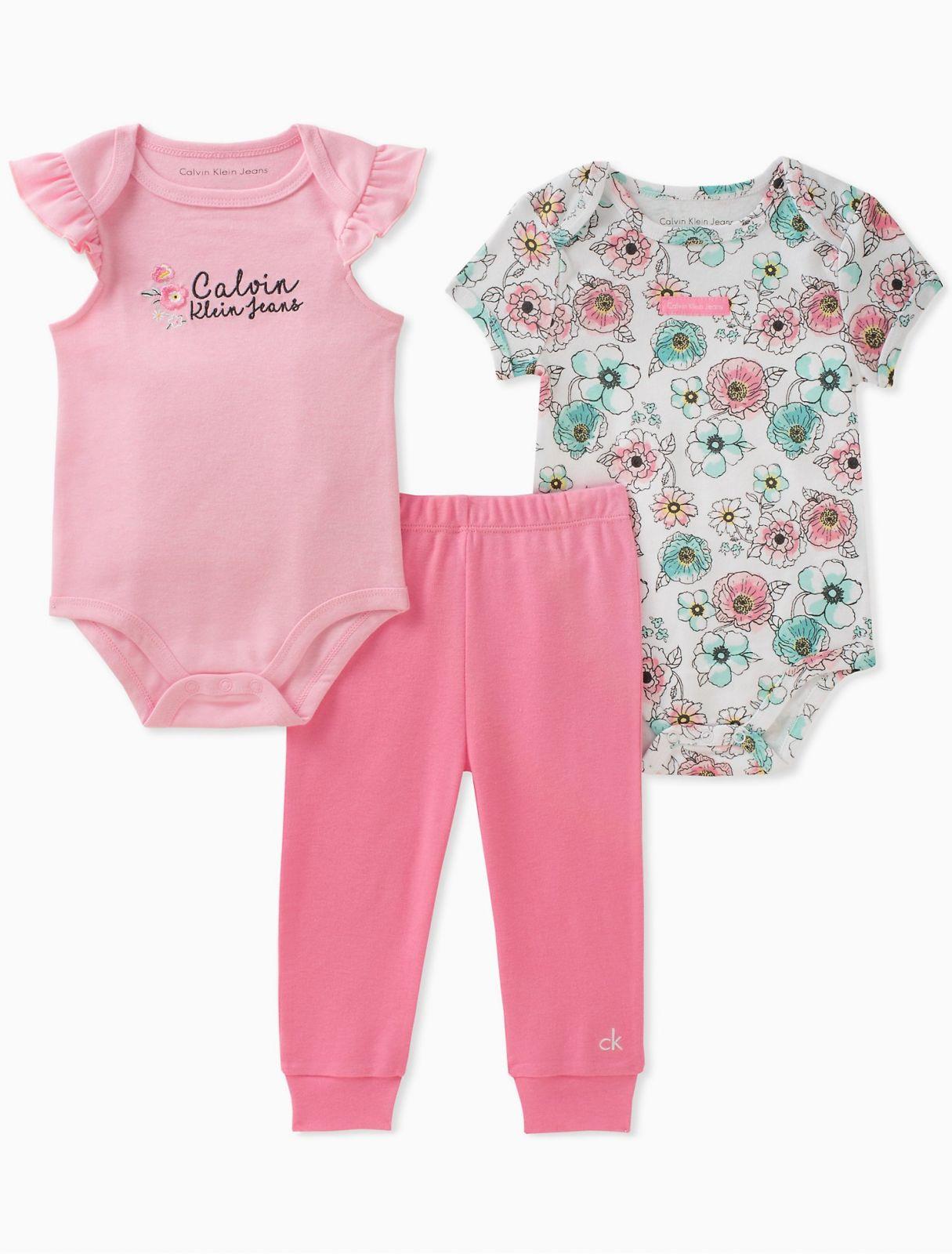 Calvin Klein luxusní oblečení 2-pack floral onesies + leggings