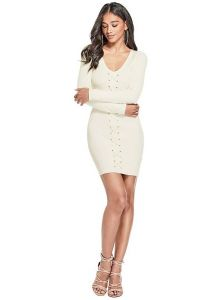GUESS šaty Effie Ruched Lace-Up Dress