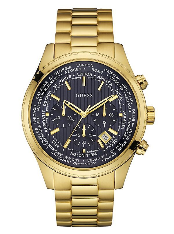 GUESS hodinky Gold-Tone Chronograph Watch