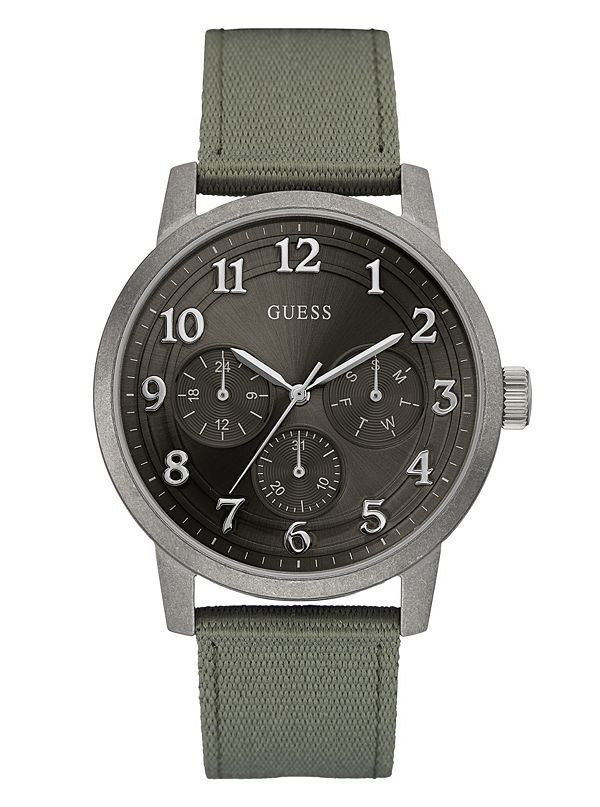 GUESS hodinky Green and Silver-Tone Multifunction Watch W0975G4