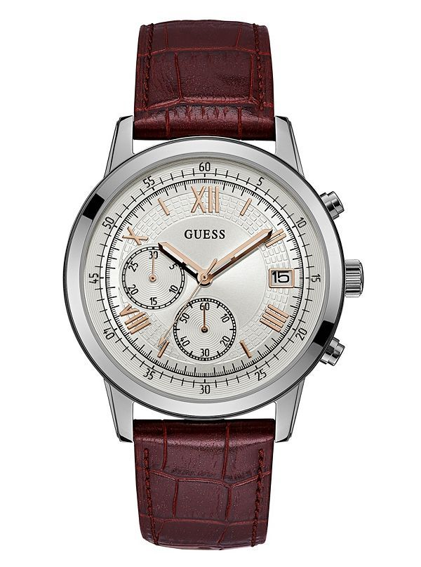 GUESS hodinky Silver-Tone and Brown Croc-Embossed Watch W1000G2