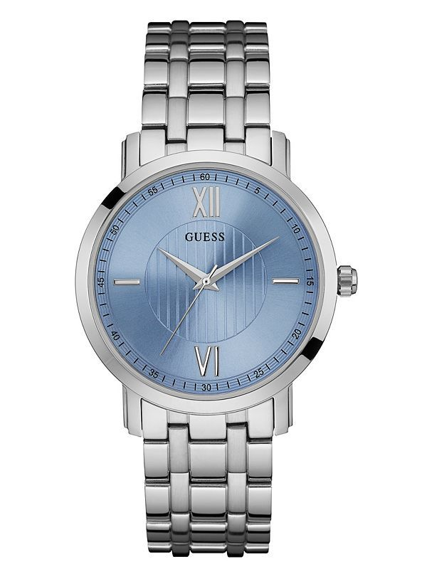 GUESS hodinky Silver-Tone & Blue Analog Watch U0716G1M