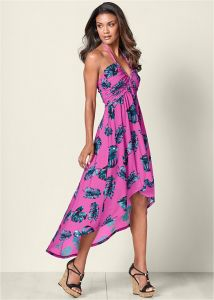 VENUS šaty HIGH LOW PRINTED DRESS