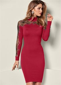 VENUS šaty LACE DETAIL SWEATER DRESS