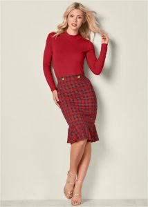 VENUS šaty PLAID DETAIL SWEATER DRESS