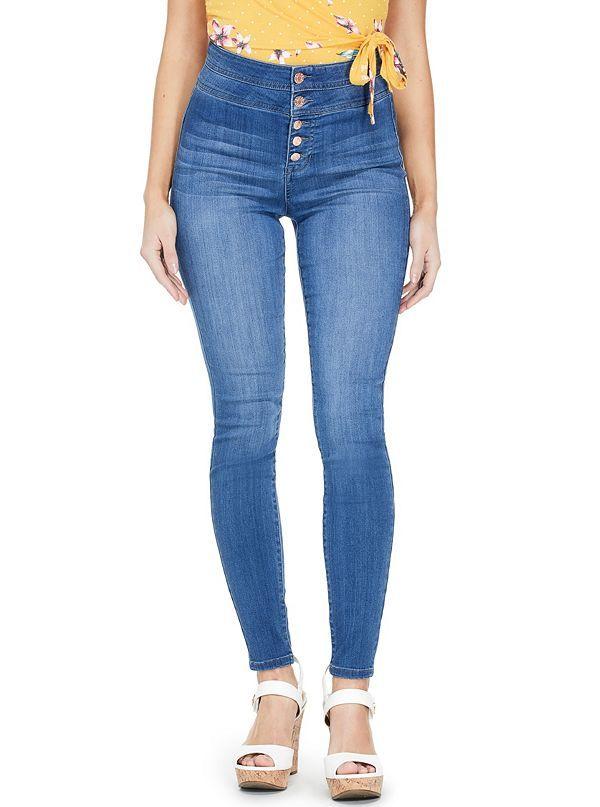 GUESS džíny Shauna Button-Front Skinny Jeans
