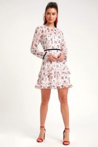Lulus dámské šaty FLORAL TO SEE WHITE FLORAL PRINT