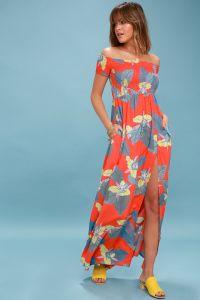 Lulus dámské šaty PATSY CORAL RED FLORAL PRINT