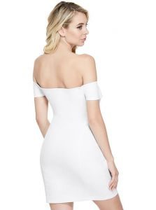 GUESS dámské šaty Tara Denim Off-The-Shoulder Dress