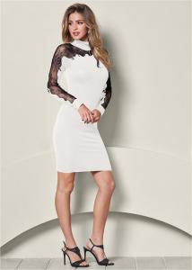 VENUS šaty LACE DETAIL SWEATER DRESS