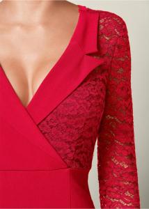 VENUS šaty LACE SURPLICE DETAIL DRESS