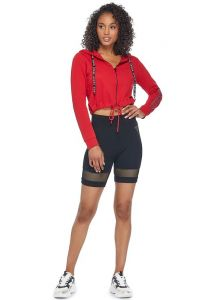 GUESS mikina Caze Cropped Zip-Up Hoodie