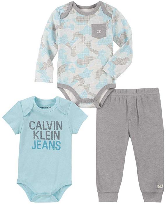 Calvin Klein luxusní oblečení pro miminka 3 Pieces Bodysuit Pants Set