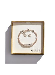 GUESS dámský set Rose Gold-Tone Rhinestone Bangle and Earrings
