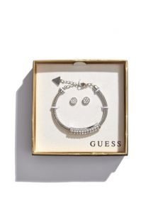 GUESS dámský set Silver-Tone Rhinestone Bangle and Earrings