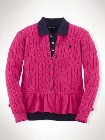 Ralph Lauren dívčí svetr Peplum Cable-Knit Cardigan