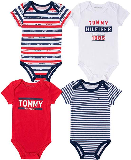 Tommy Hilfiger luxusní oblečení pro miminko Baby Boy 4 Pieces Pack Bodysuits