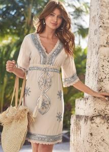 VENUS dámské šaty EMBELLISHED LINEN