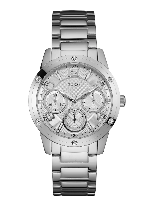 GUESS dámské hodinky Silver-Tone Textured Multifunction Watch