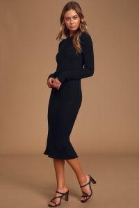 Lulus dámské svetrové šaty The Best Yet Black Ribbed