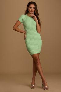 Lulus dámské šaty Rush Back to You Mint Green Ribbed Backless Bodycon Dress