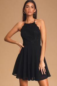 Lulus dámské šaty About That Love Black Lace Mini