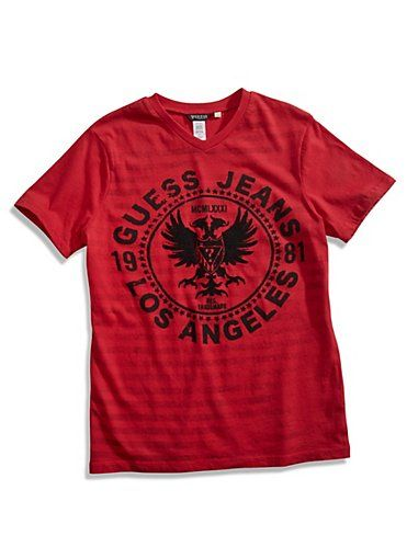GUESS tričko Eagle Stripe V-Neck Tee