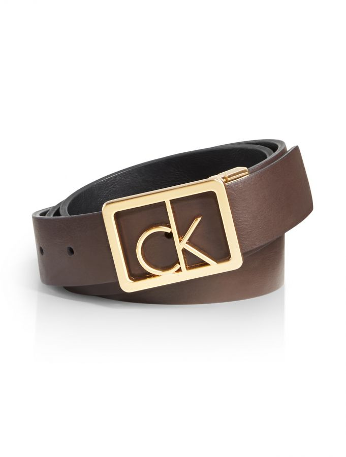 Calvin Klein pásek Reversible logo buckle leather belt