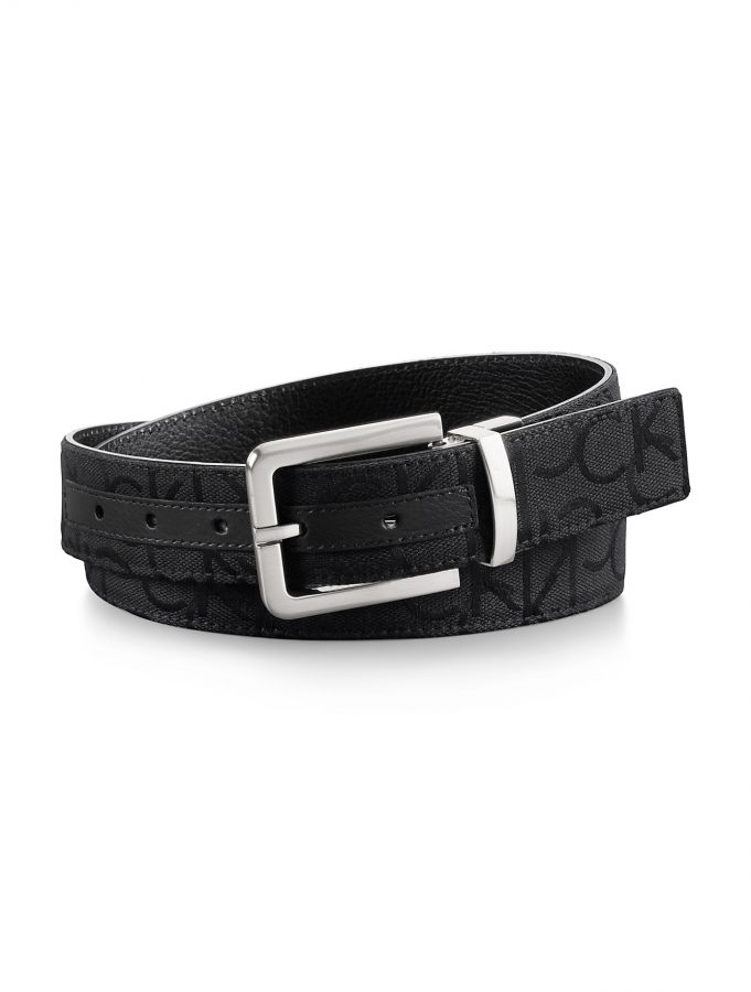 Calvin Klein pásek Reversible logo jacquard leather belt
